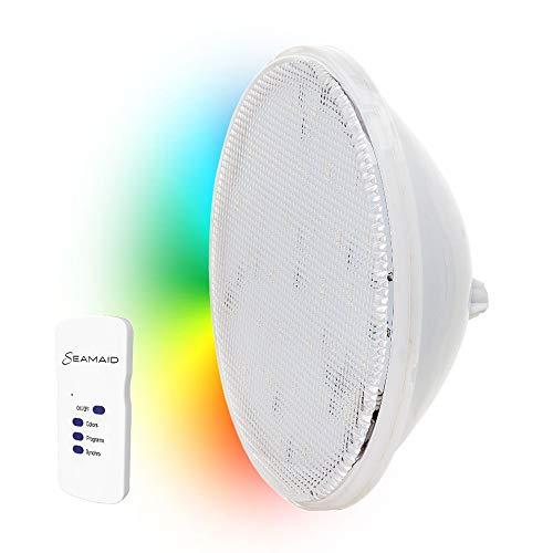 Seamaid 502839 Lampada Faro a LED Standard PAR56, 90 LED RGB con Telecomando 16W