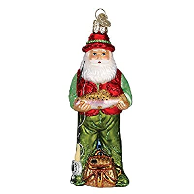 Fly Fishing Santa Glass Blown Hanging Christmas Ornament from Old World Christmas