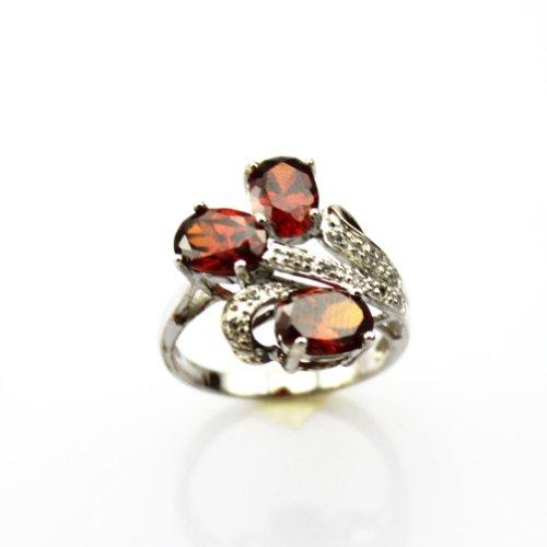 Jade Angel Joyería de la Manera 925 Plata Zircon Cúbico Anillo de tres Piedras Granate