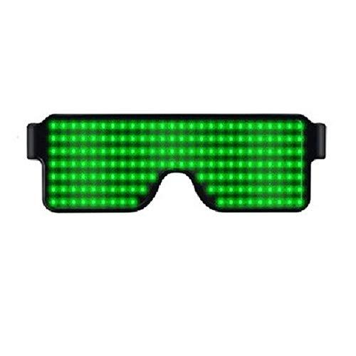 LINGKY Leuchtbrille LED Shutter Shade Brille USB Ladevorgang Leuchten Gläser Für Party Masquerade, Nacht Pub,Bar Klub Rave (Grün)