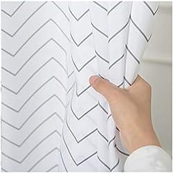 Blanco a Rayas de Tela Lavable Para Baño Cortina de Ducha Moho Resistente, Impermeable 72 x 72 Inch