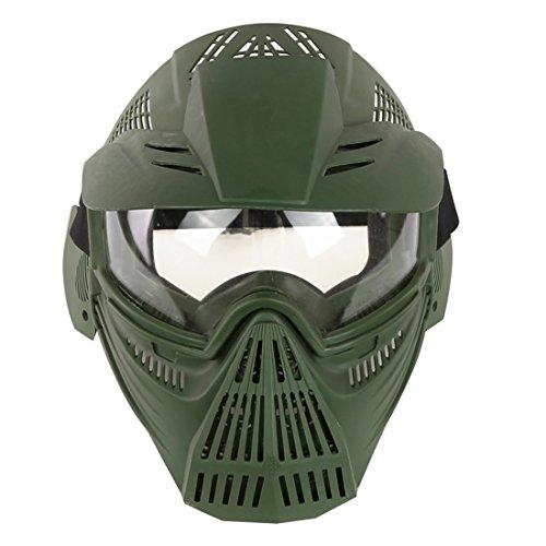 Haunen Paintball Helm Taktische Helm mit Maske Schutzbrille Schützend Helm für Nerf/Airsoft/CS/Außenaktivität (Grün)