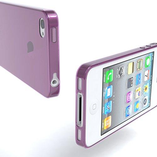 "EAZY CASE Handyhülle für Apple iPhone 4S, iPhone 4 Hülle - Premium Handy Schutzhülle Slimcover ""Clear"" - Transparentes Silikon Backcover in Klar / Durchsichtig Lila"