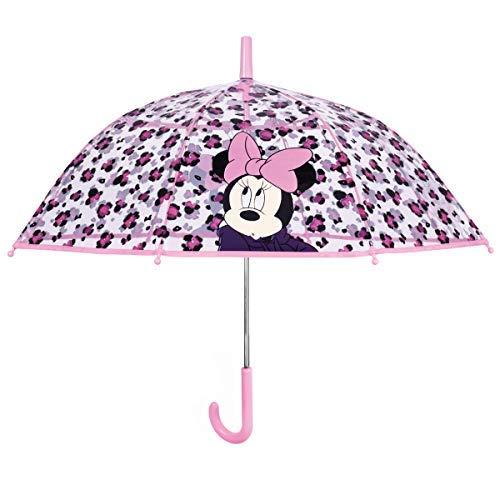 vente chaude en ligne f8436 1d891 Perletti Parapluie Cloche Transparent - Enfant - Minnie Léopard Paraguas  clásico 50 Centimeters Rosa (Rose)