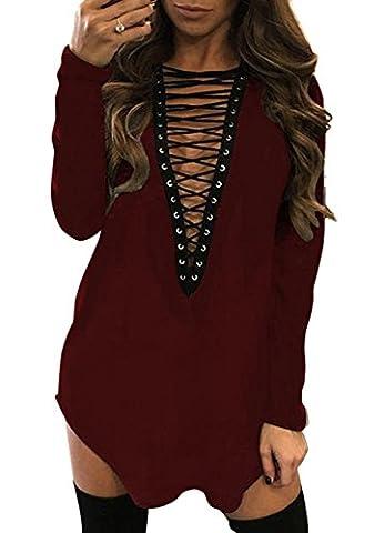 Yidarton Damen Minikleid Lace-up Lange Ärmel Tiefe V-Ausschnitt Mini Hemdkleid