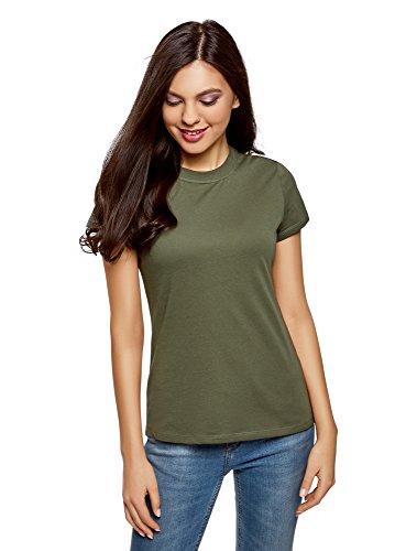 oodji Ultra Damen Tagless Baumwoll-T-Shirt mit Rundhalsausschnitt, Grün, DE 32 / EU 34 / XXS