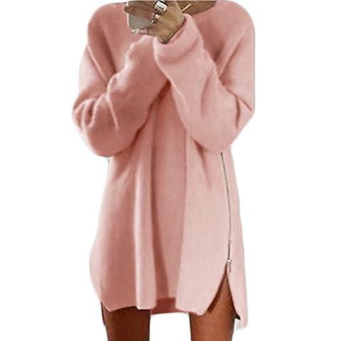 Femmes Robe de Automne Manches Longues Cou Ronde Casual Lâche Zip Longue Pullover Pulls (S, Rose)