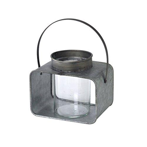 Square Wärmer (Zeit Concept Metall Garage analoge Laterne Base w/Integrierter Griff-Grau-Home Decor Grey, Small - Square Tinplate)