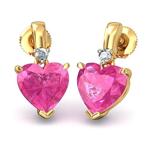 14K giallo oro 0.04Cttw white-diamond (Ij | si) e tormalina rosa orecchini pendenti