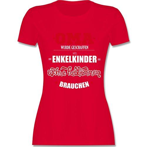 Oma - Oma wurde geschaffen - tailliertes Premium T-Shirt mit Rundhalsausschnitt für Damen Rot