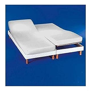 Cotton Art Drap-housse pour lit double articulé 160 (80 x 2)x 190/200 cm Blanc