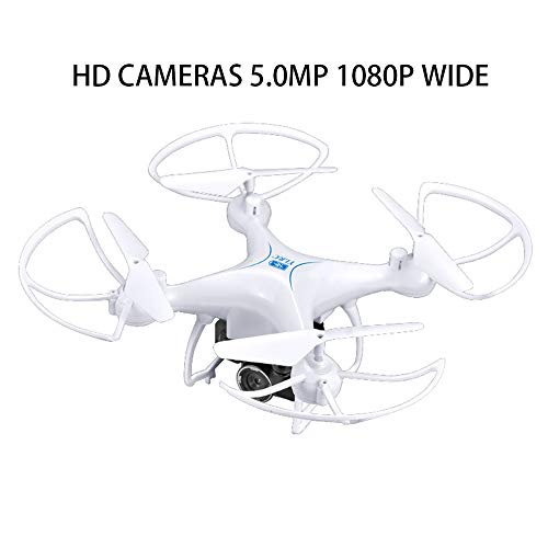 EisEyen - Drone para Principiantes S29 1 Drone Quadcoptero, Juguete Creativo, Mando a Distancia RC, cuadricóptero para niños, Regalo de 5,0 MP 1080 P, Blanco, Avec La Caméra