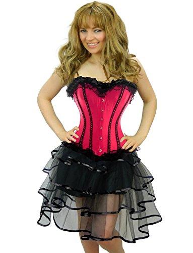 Yummy Bee Burleske Verstärktes Korsett mit Tutu Rock Karneval Fasching Kostüm Damen Größe 34 - 56 ( 38-40, Rosa LongRib)