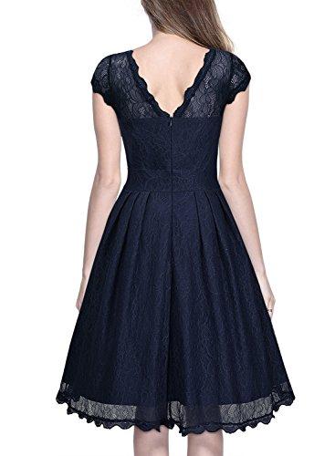 Miusol Damen Elegant Spitzenkleid Cocktailkleid Knielanges Vintage 50er Jahr Abendkleid Dunkelblau Gr.M -