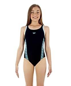 "Speedo Girls' Monogram Muscleback Swimsuit - Black/White, 24"""