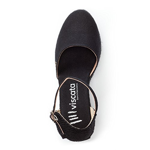 VISCATA Satuna Ankle-Strap, Closed Toe, Classic Espadrilles with 3-inch Heel Made in Spain Black Jute
