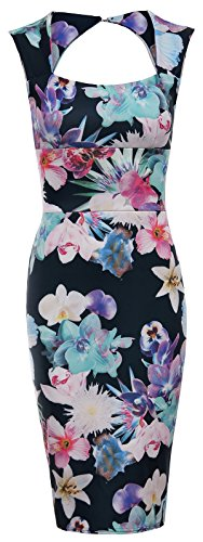 Floral Square-neck (Damen Celeb Kim Kardashian Floral Square Neck Sleeveless Bodycon-Partei-Kleid (EU40-UK12, Black Floral Dress))