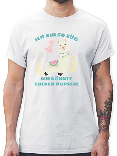 Sprüche - Lama Ich Bin so süß ich könnte Zucker Pupsen - 3XL - Weiß - L190 - Tshirt Herren und Männer T-Shirts -