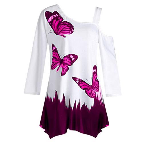 TIFY Damen Langarm Bluse, übergroßen Schmetterling Drucken lose -
