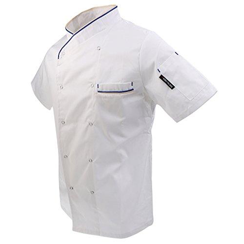 MagiDeal Unisex T-shirt Giacca Cappotto Top Uniforme da Cuoco Chef Estate -  Bianca 03f444e79265