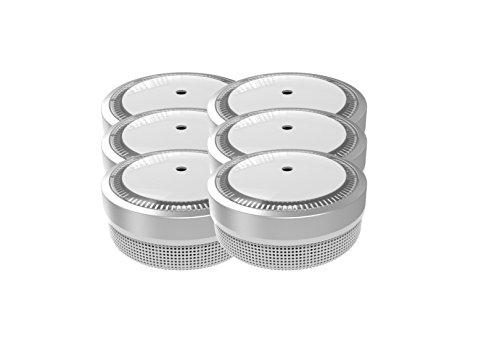 Jeising Mini Rauchmelder 6er Set RWM100-Silber 10 Jahre Batterie - VDS geprüft