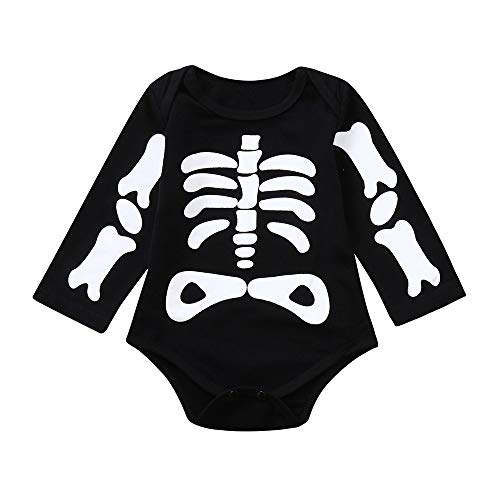 Yesmile Kinder Halloween Kleidung 1PCS Toddler Infant Baby Mädchen Boys Skelett Drucken Romper Langarm Jumpsuit Halloween Costume Outfits