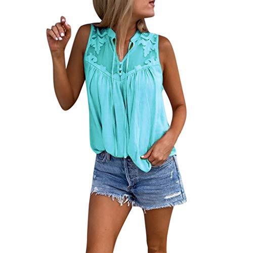 QingJiu Damen Fahsion Chiffon Stitching Lace V Ausschnitt äRmelloses Shirt Tops Bluse Womens (XX-Large, Hellblau) (Lady Von Amerika)