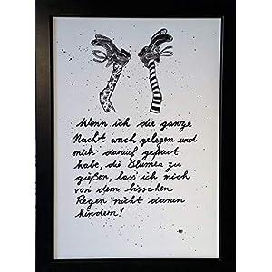 """""""Wenn ich die ganze Nacht…"""" Bild, handgemaltes Original, Aquarell, schwarz-weiß, hygge, Din A4, Geschenkidee z.B. für Muttertag, Vatertag, Valentinstag, Pippi Langstrumpf-Spruch, MIT Rahmen"""