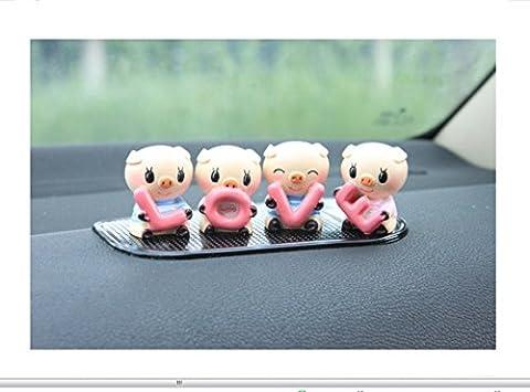 SwirlColor décoration de voiture Mignon LOVELY Petit intérieur Cochon convient à la voiture une tirelire Décoration Car Styling Piggy 4pieces /