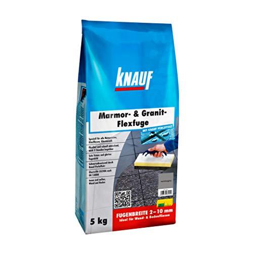 Knauf Marmor- & Granit-Flexfuge - Spezial Fugen-Mörtel auf Zement-Basis für Marmor, Granit, Natur-Steine, Glas-Fliesen und Glas-Mosaik, schnellhärtend, mit Perl-Effekt, Carrara-Grau, 5-kg