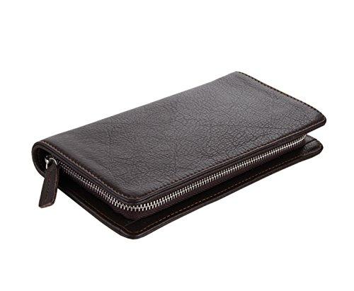 Everdoss Unisexe sac à main en cuir portefeuille portemonnaie sacoche fermeture éclair