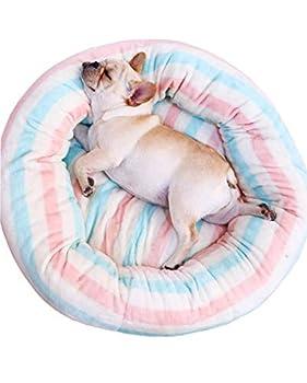 Jjek Pet Nest, Matelas pour Chat et Chien, Peluche Arc en Ciel pour Beignet en Peluche (Rayures, M, 70x70x20cm) (Taille : M)