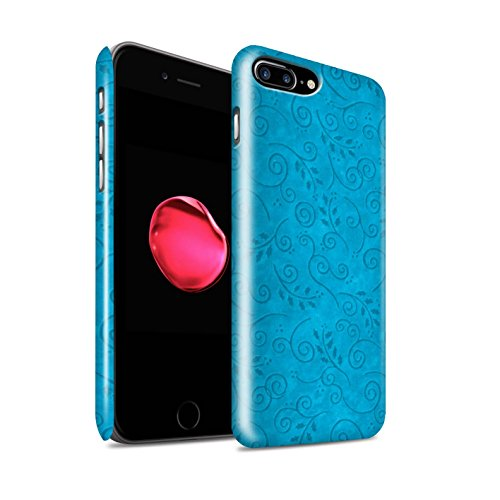 STUFF4 Glanz Snap-On Hülle / Case für Apple iPhone 8 Plus / Blau Muster / Blatt-Strudel-Muster Kollektion Türkis