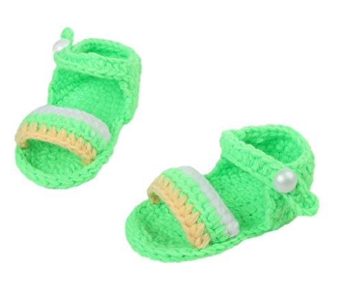 Bigood(TM) 1 Paar Strick Schuh Baby Unisex Strickschuh One Size süße Muster 11cm lilienweiss Blume Grün D