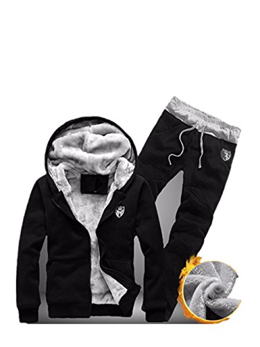 Preisvergleich Produktbild Herren Trainingsanzug Winterjacke Kapuzenpullis Satz Jogginghose Gym Set LMMVP (L, Black)
