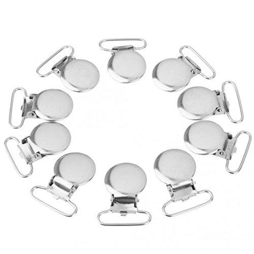 D DOLITY 10Stück Metall Schnuller Clips Runde Verschluss für Reparatur Strapse und Taschen Klammern