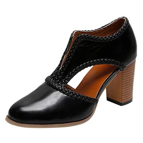 JYJM Sandalen Retro Damen Square Heels Spitz High Heels Schuhe Sandalen Einfarbig Elegant Atmungsaktiv Freizeitschuhe Bequeme Pumps Strandschuhe (Color:Schwarz, Braun, Gelb) -