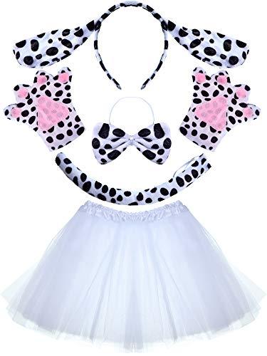 Und Kostüm Ohren Dalmatiner Schwanz - Geyoga Tier Kostüm Set Dalmatiner Hund Giraffe Ohren Stirnband Schwanz Bowtie Pfoten für Cartoon Kostüm Gefälligkeiten (Dalmatinischer Hund)
