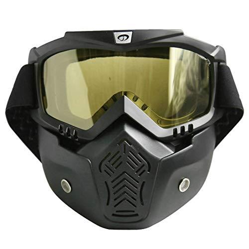 Coniea Motorrad Brille Motorradbrille PC Sportbrille Laufen Herren Schutz Brille Schwarz Gelb