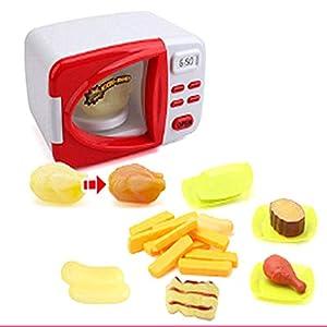 Local Makes A Comeback  -Juguete de la casa del horno de microondas de simulación de los niños con cocina de luz cambiante de color,Rojo