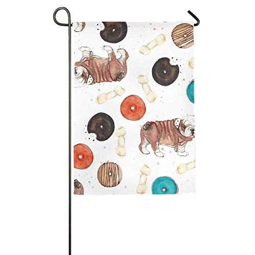 momnn Doughnuts and Cute Puppies Garden Flag Indoor & Outdoor Decorative Flags for Parade Sports Game Family Party Wall Banner 12x18 inches
