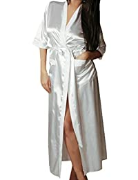 143f3d1c87e0b5 Sansee Damen Kimono Morgenmantel mit Gürtel Lange RobeUniformen Versuchung  Satin Sexy Underwer Nachthemd Bademantel