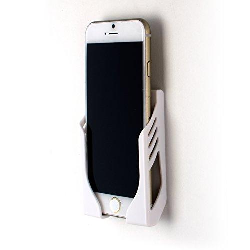 Dockem Wandhalterung für iPhone Xs, XS Max, XR, iPhone X, iPhone 8, 7, 6S, 6, iPhone 8 Plus, 7 Plus, 6 Plus, 6S Plus mit 3M-Klebestreifen - Koala Beschädigungsfreies Mount Wall Dock - Weiß