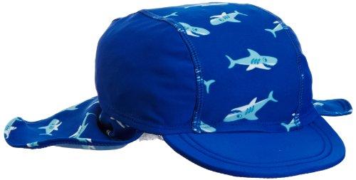 Playshoes Jungen Mütze 460128 Badekappe, Bademütze Hai mit UV-Schutz nach Standard 801 und Oeko-Tex Standard 100, Gr. 53, Blau (original)