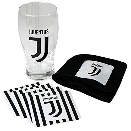 Juventus Football Club Official Mini Bar Set Pint Glass Beer Mats Towel Badge
