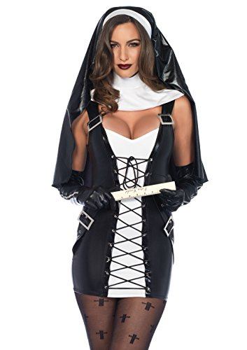 Kostüm Naughty Nonne - Leg Avenue Damen Kostüm Naughty Nonne M/L schwarz weiß