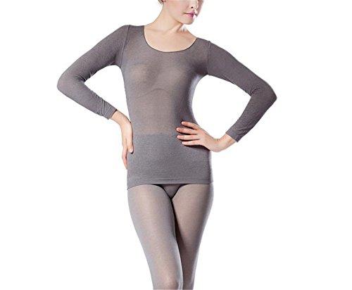 hippolo Damen Rundhalsausschnitt Top & Bottom Ultra Dünn Thermo-Unterwäsche (One Size) grau