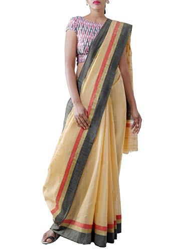 Unnati Silks Women Art Andhra Jute Saree With Blouse piece from the Weavers of Andhra Pradesh (UNM28159+Brown+Free Size)
