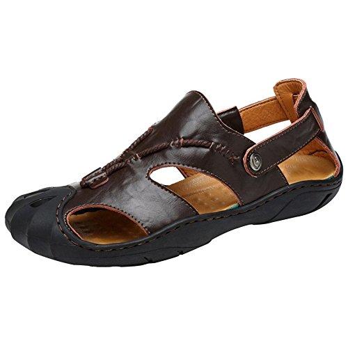 Herren Closed Toe Hohlen Breathable Leder Sandalen Casual Strand Schuhe Outdoor Sandalen Trekking Schuhe,Coffee-42 (Schnalle Pad Toe)