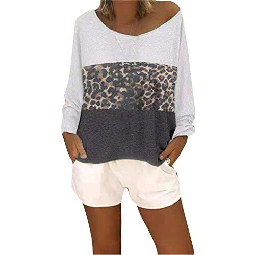 OIKAY Bluse Damen Casual Tunika Tops O-Ausschnitt Solides T-Shirt Frauen Casual Cute Shirts Leopardenmuster Tops Basic Kurzarm Weiche Bluse